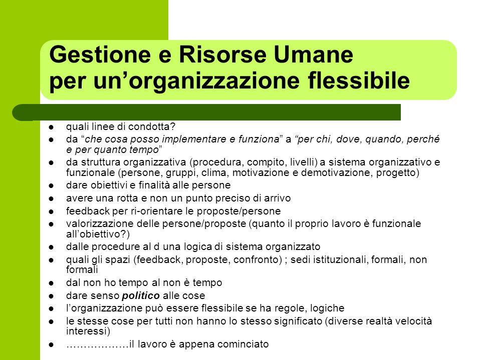 Gestione e Risorse Umane per unorganizzazione flessibile quali linee di condotta? da che cosa posso implementare e funziona a per chi, dove, quando, p