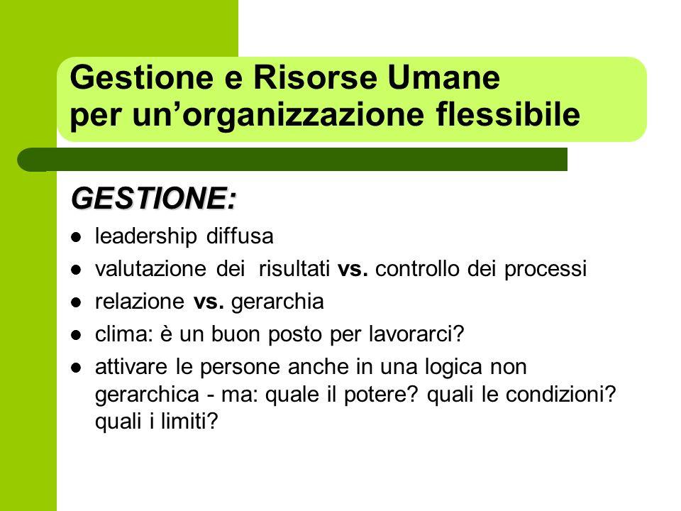 GESTIONE: leadership diffusa valutazione dei risultati vs. controllo dei processi relazione vs. gerarchia clima: è un buon posto per lavorarci? attiva