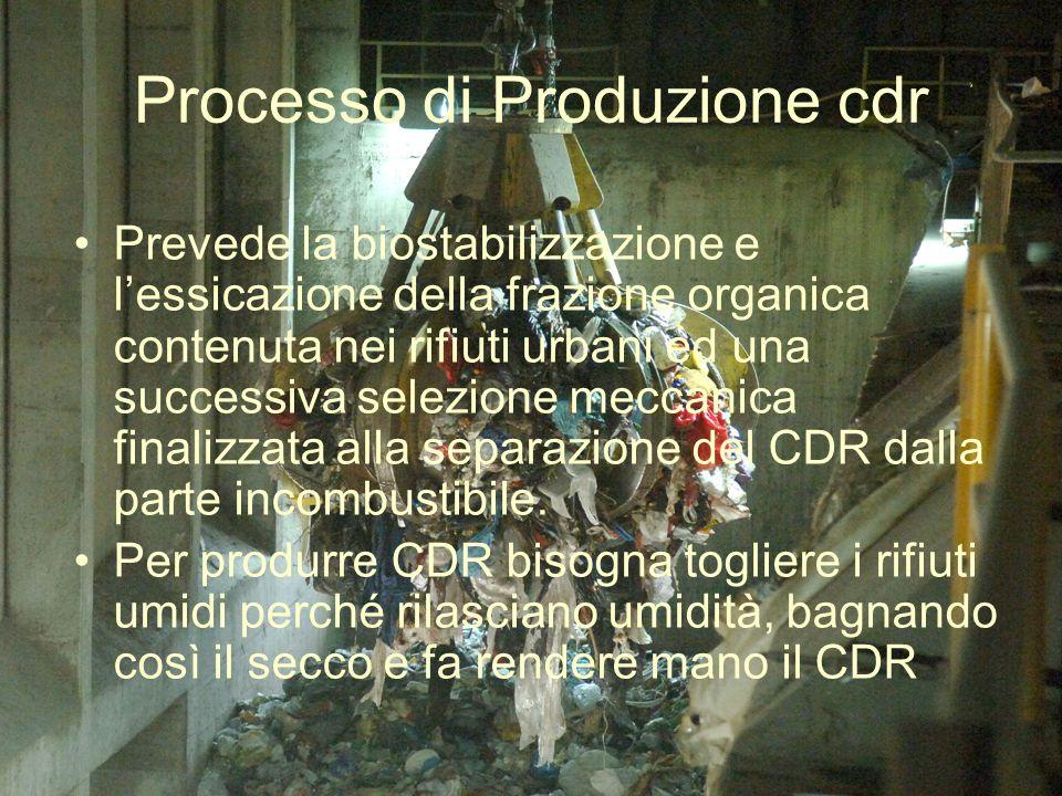 Processo di Produzione cdr Prevede la biostabilizzazione e lessicazione della frazione organica contenuta nei rifiuti urbani ed una successiva selezio