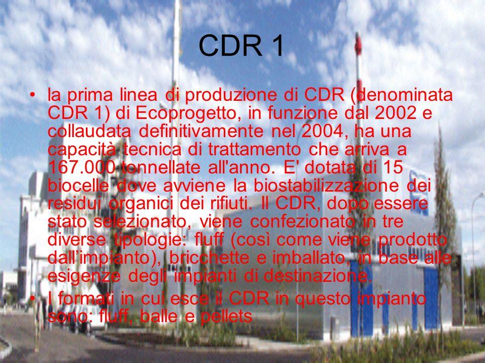 CDR 1 la prima linea di produzione di CDR (denominata CDR 1) di Ecoprogetto, in funzione dal 2002 e collaudata definitivamente nel 2004, ha una capaci