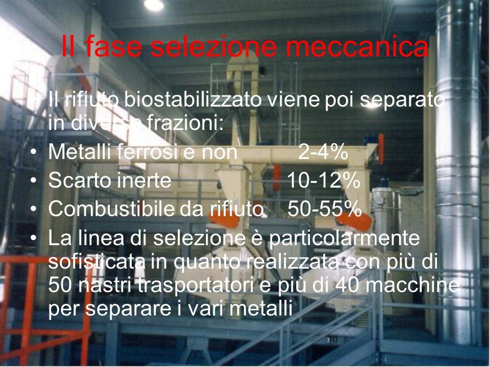 II fase selezione meccanica Il rifiuto biostabilizzato viene poi separato in diverse frazioni: Metalli ferrosi e non 2-4% Scarto inerte 10-12% Combust