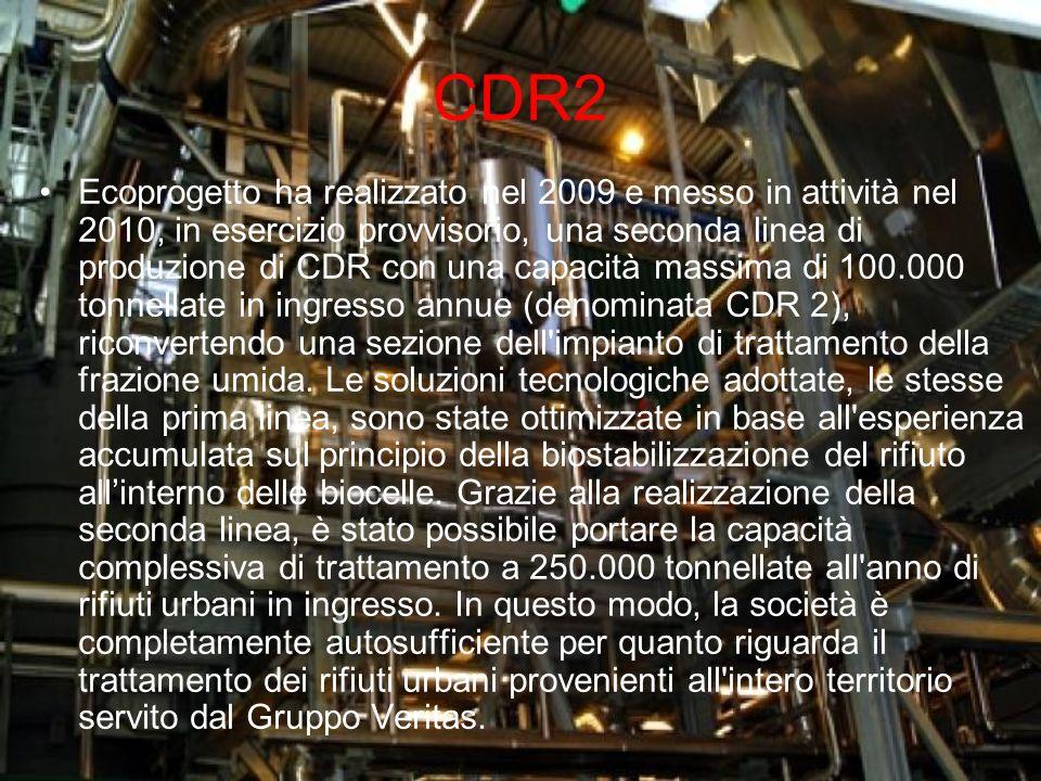 CDR2 Ecoprogetto ha realizzato nel 2009 e messo in attività nel 2010, in esercizio provvisorio, una seconda linea di produzione di CDR con una capacit