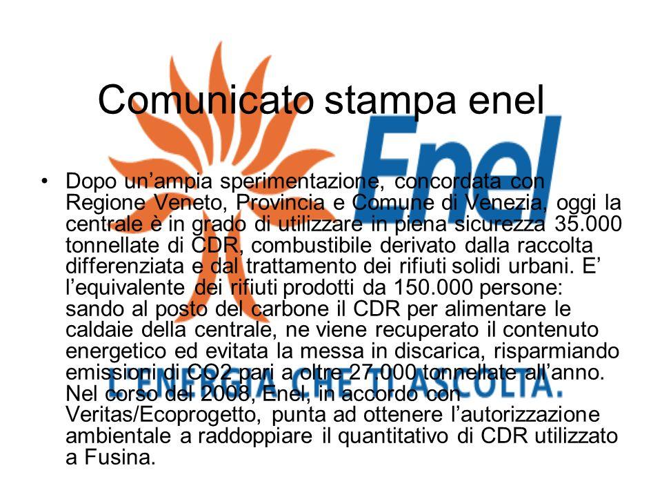 Comunicato stampa enel Dopo unampia sperimentazione, concordata con Regione Veneto, Provincia e Comune di Venezia, oggi la centrale è in grado di util