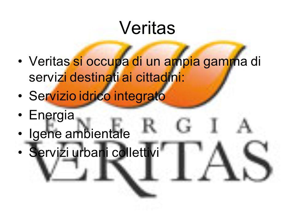 Veritas Veritas si occupa di un ampia gamma di servizi destinati ai cittadini: Servizio idrico integrato Energia Igene ambientale Servizi urbani colle