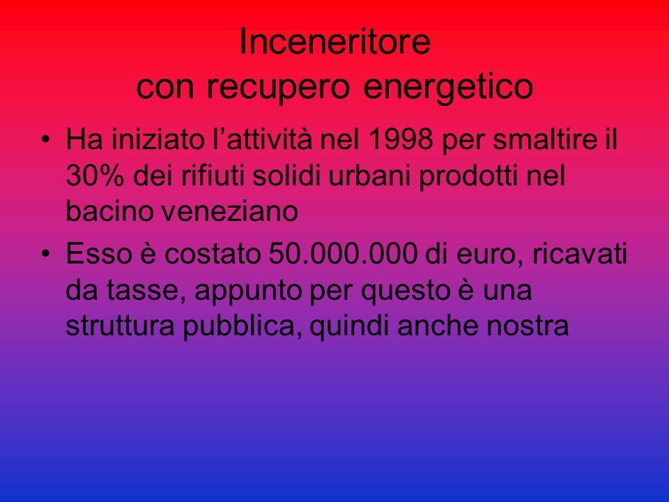 Inceneritore con recupero energetico Ha iniziato lattività nel 1998 per smaltire il 30% dei rifiuti solidi urbani prodotti nel bacino veneziano Esso è
