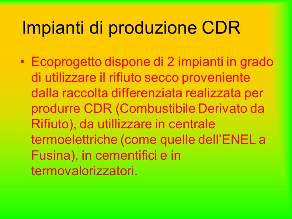 Processo di Produzione cdr Prevede la biostabilizzazione e lessicazione della frazione organica contenuta nei rifiuti urbani ed una successiva selezione meccanica finalizzata alla separazione del CDR dalla parte incombustibile.