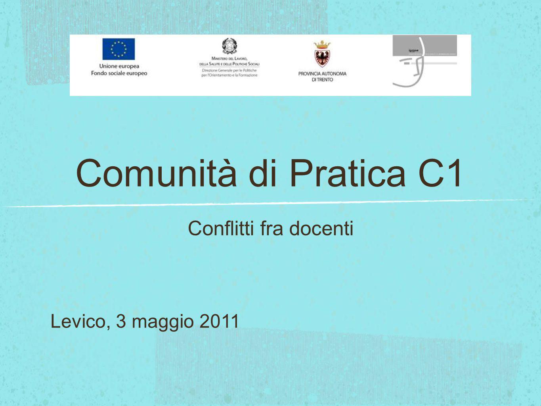 Comunità di Pratica C1 Conflitti fra docenti Levico, 3 maggio 2011