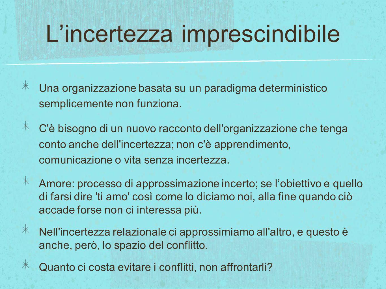 Lincertezza imprescindibile Una organizzazione basata su un paradigma deterministico semplicemente non funziona. C'è bisogno di un nuovo racconto dell