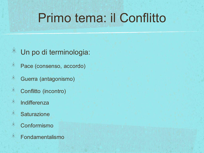 Primo tema: il Conflitto Un po di terminologia: Pace (consenso, accordo) Guerra (antagonismo) Conflitto (incontro) Indifferenza Saturazione Conformismo Fondamentalismo