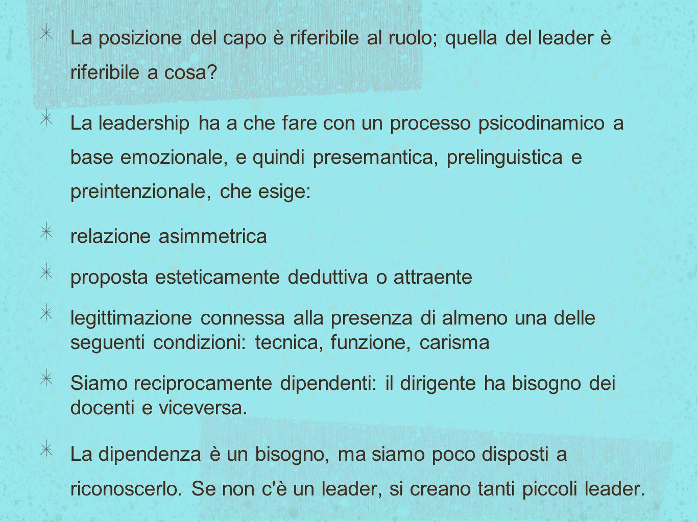 La posizione del capo è riferibile al ruolo; quella del leader è riferibile a cosa? La leadership ha a che fare con un processo psicodinamico a base e