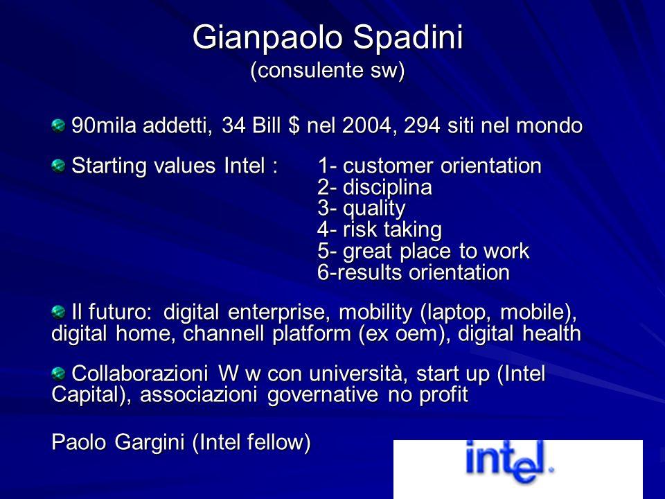 90mila addetti, 34 Bill $ nel 2004, 294 siti nel mondo 90mila addetti, 34 Bill $ nel 2004, 294 siti nel mondo Starting values Intel : 1- customer orie