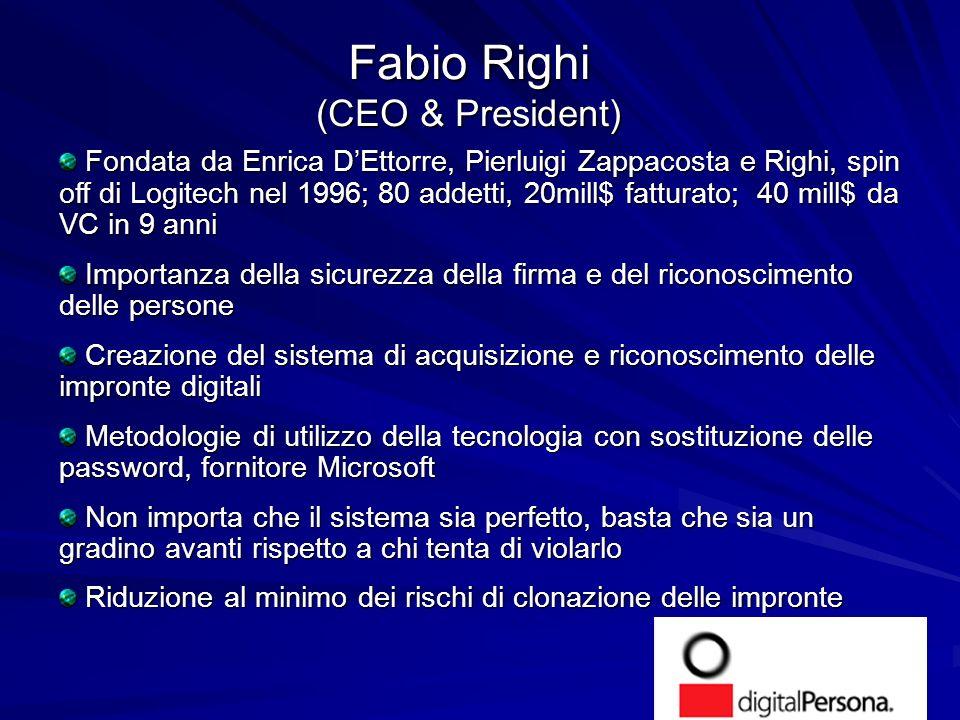 Fabio Righi (CEO & President) Fondata da Enrica DEttorre, Pierluigi Zappacosta e Righi, spin off di Logitech nel 1996; 80 addetti, 20mill$ fatturato;