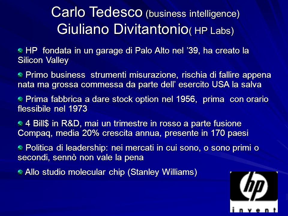 Carlo Tedesco (business intelligence) Giuliano Divitantonio ( HP Labs) HP fondata in un garage di Palo Alto nel 39, ha creato la Silicon Valley HP fon