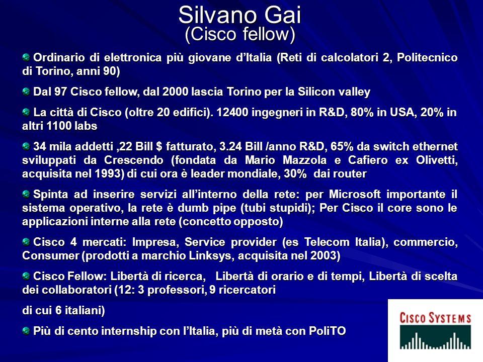 Silvano Gai (Cisco fellow) Ordinario di elettronica più giovane dItalia (Reti di calcolatori 2, Politecnico di Torino, anni 90) Ordinario di elettroni