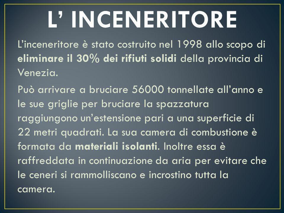 Linceneritore è stato costruito nel 1998 allo scopo di eliminare il 30% dei rifiuti solidi della provincia di Venezia. Può arrivare a bruciare 56000 t