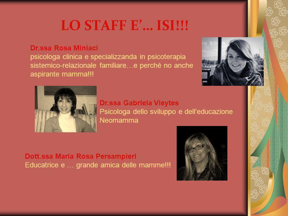 LO STAFF E… ISI!!! Dr.ssa Gabriela Vieytes Psicologa dello sviluppo e delleducazione Neomamma Dr.ssa Rosa Miniaci psicologa clinica e specializzanda i