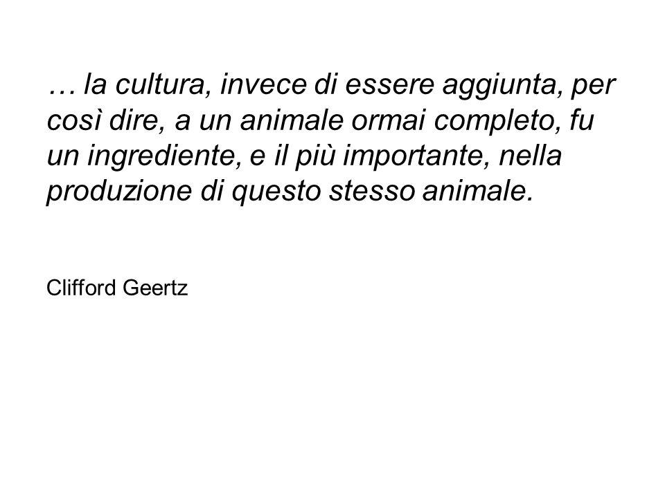 … la cultura, invece di essere aggiunta, per così dire, a un animale ormai completo, fu un ingrediente, e il più importante, nella produzione di quest