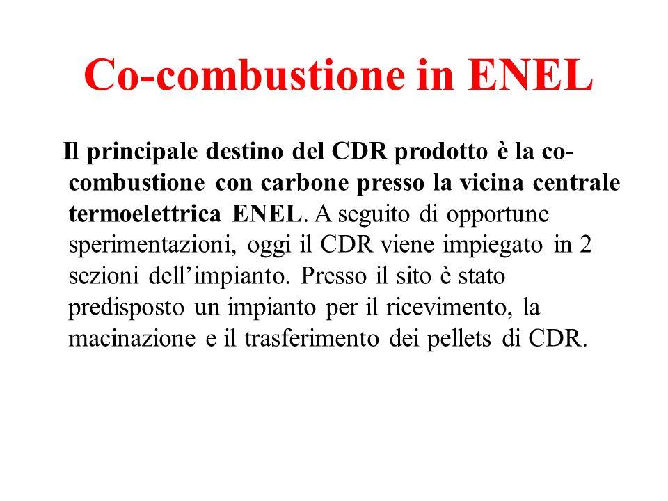 Co-combustione in ENEL Il principale destino del CDR prodotto è la co- combustione con carbone presso la vicina centrale termoelettrica ENEL.