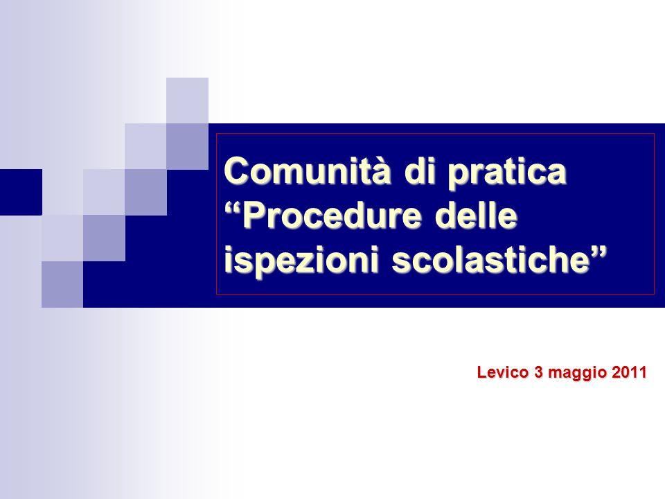 Comunità di pratica Procedure delle ispezioni scolastiche Levico 3 maggio 2011
