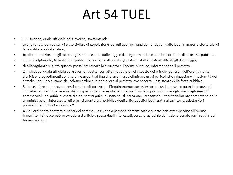 Art 54 TUEL 1. Il sindaco, quale ufficiale del Governo, sovraintende: a) alla tenuta dei registri di stato civile e di popolazione ed agli adempimenti