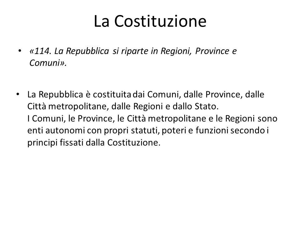 La Costituzione «114. La Repubblica si riparte in Regioni, Province e Comuni». La Repubblica è costituita dai Comuni, dalle Province, dalle Città metr
