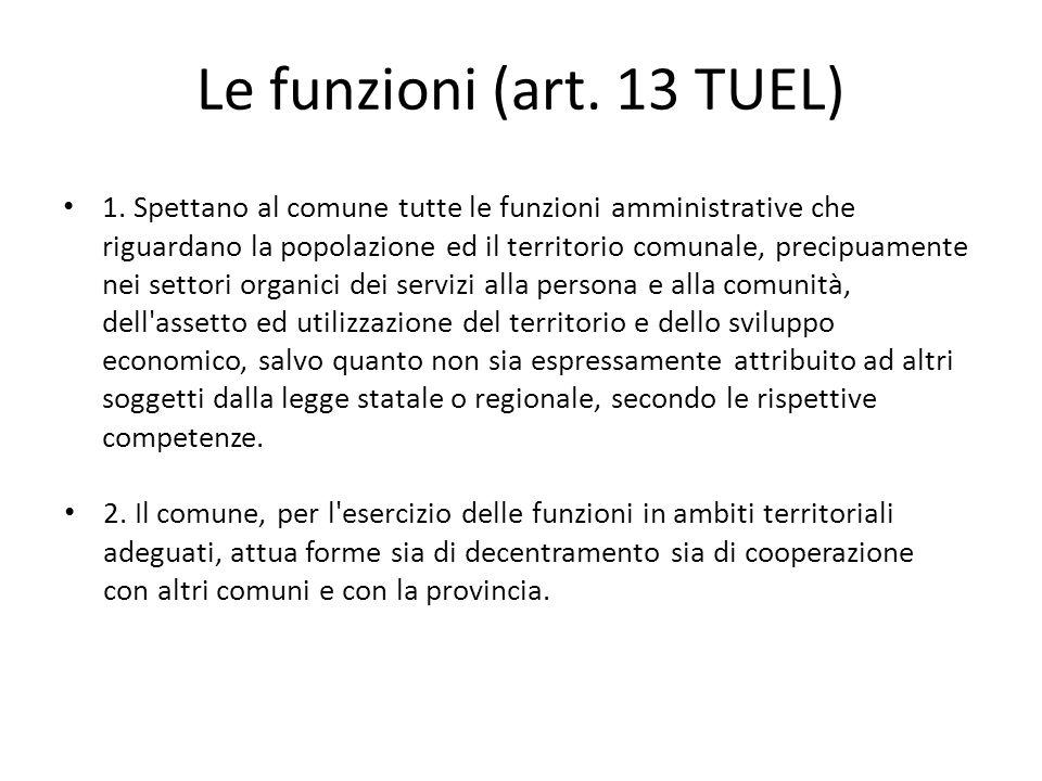 Le funzioni (art. 13 TUEL) 1. Spettano al comune tutte le funzioni amministrative che riguardano la popolazione ed il territorio comunale, precipuamen