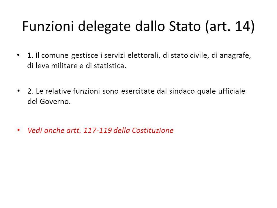 Funzioni delegate dallo Stato (art. 14) 1. Il comune gestisce i servizi elettorali, di stato civile, di anagrafe, di leva militare e di statistica. 2.