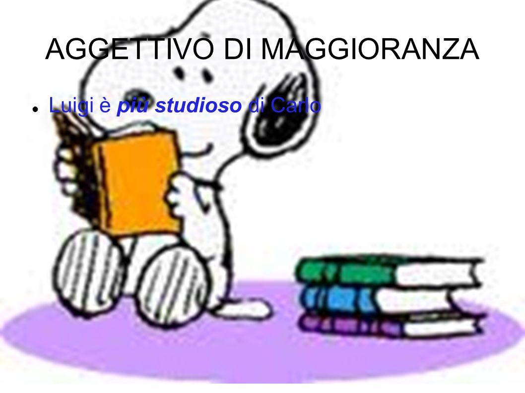 AGGETTIVO DI MAGGIORANZA Luigi è più studioso di Carlo