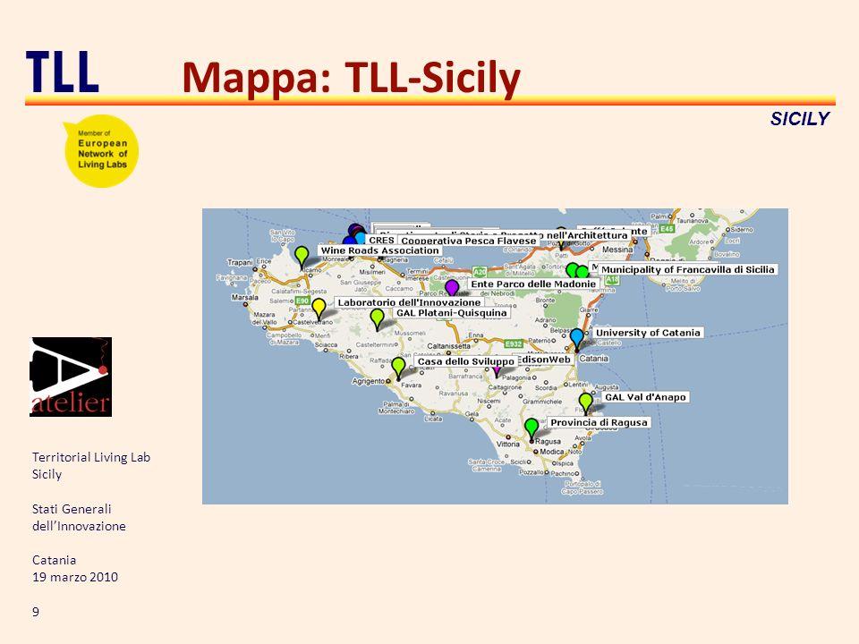 Territorial Living Lab Sicily Stati Generali dellInnovazione Catania 19 marzo 2010 9 TLL SICILY Mappa: TLL-Sicily