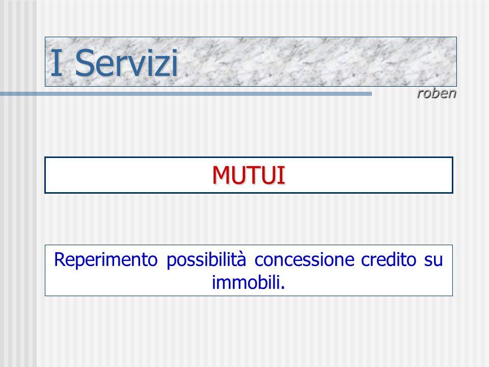 I Servizi roben MUTUI Reperimento possibilità concessione credito su immobili.