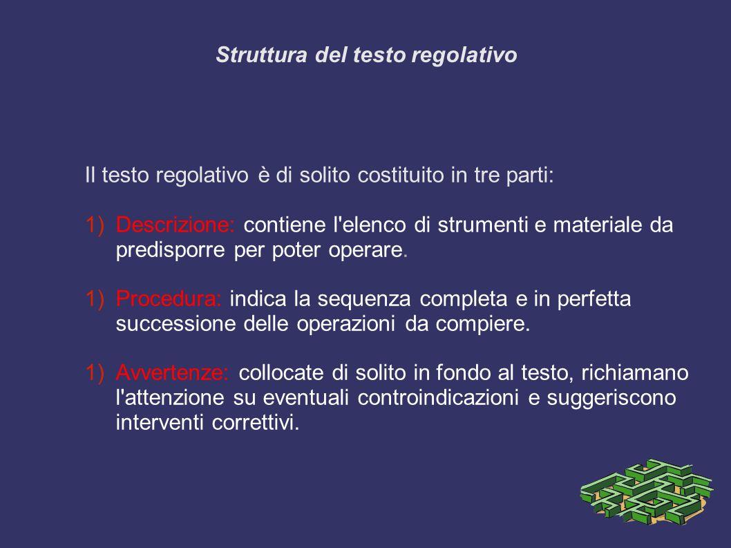 Struttura del testo regolativo Il testo regolativo è di solito costituito in tre parti: 1)Descrizione: contiene l elenco di strumenti e materiale da predisporre per poter operare.