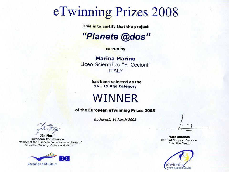 Il Progetto Planète @Ados è stato il vincitore del Primo Premio su 32000 scuole europee nellanno 2008