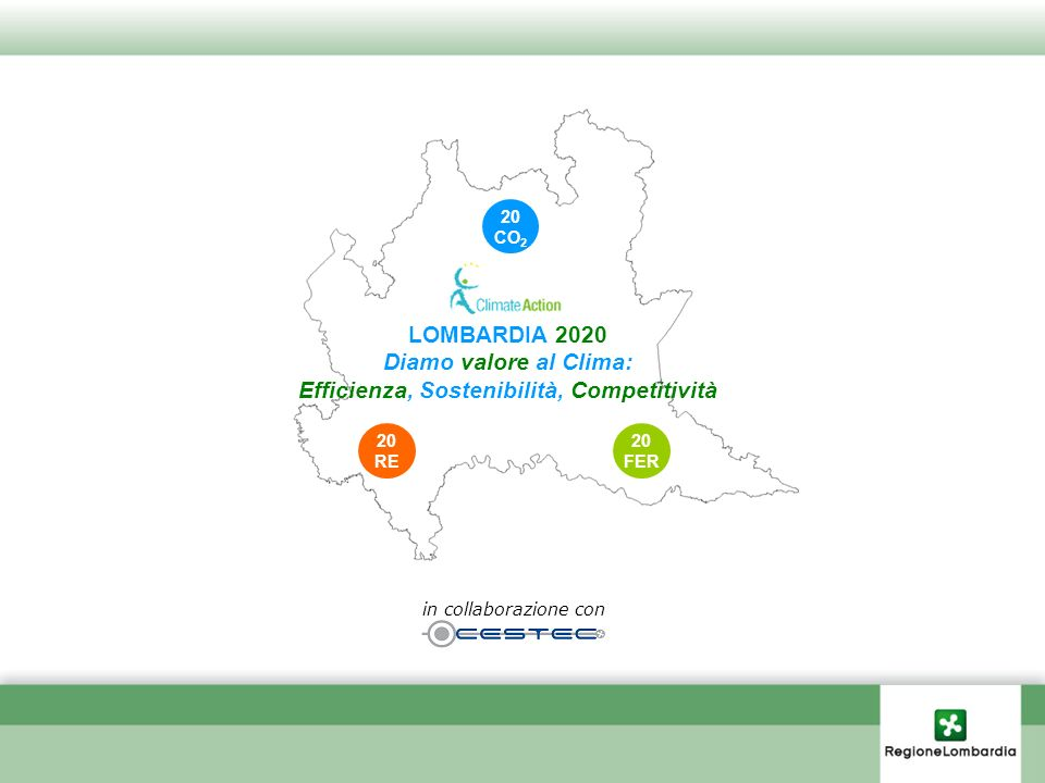 RINNOVABILI 17% dei consumi energetici al 2020 RISPARMIO ENERGETICO -20% dei consumi energetici al 2020 (su base 2005) CO 2eq -13% al 2020 (su base 2005) EFFICACIA Effetto traino DRIVER INDICATORE CHIAVE Politica di Regione Lombardia PIANO PER UNA LOMBARDIA SOSTENIBILE Declinazione a livello nazionale degli obiettivi europei 20 FER 20 RE 20 CO 2 20 FER 20 RE 20 CO 2 STRATEGIA Leva strategica OPPORTUNITA Benefici diretti su economia 1