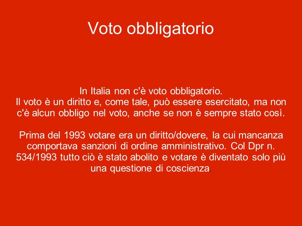 Voto obbligatorio In Italia non c'è voto obbligatorio. Il voto è un diritto e, come tale, può essere esercitato, ma non c'è alcun obbligo nel voto, an