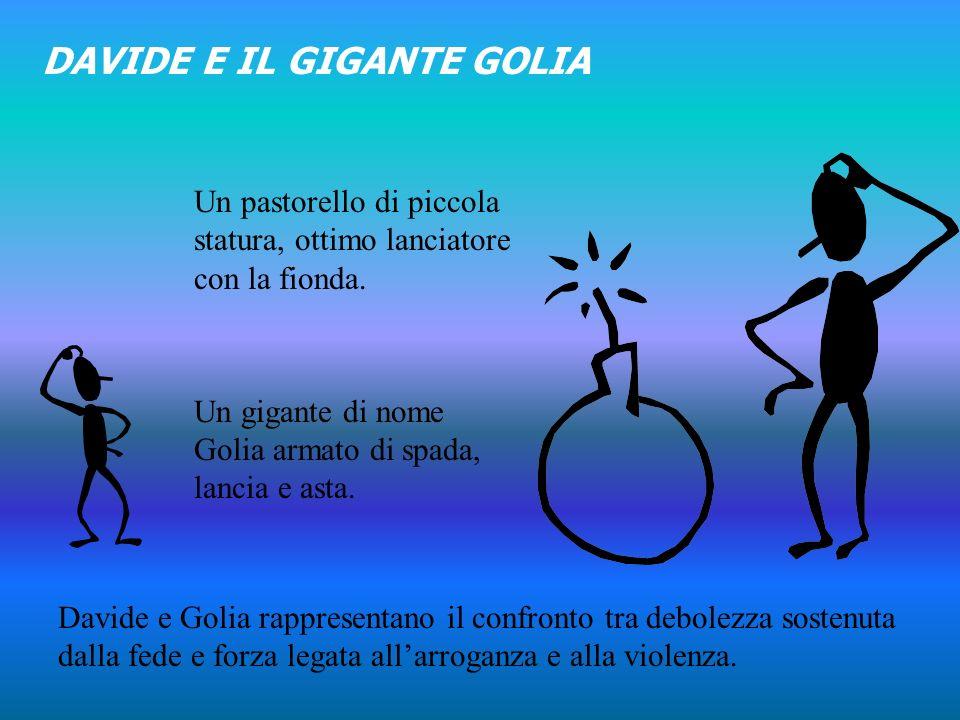 DAVIDE E IL GIGANTE GOLIA Un gigante di nome Golia armato di spada, lancia e asta.