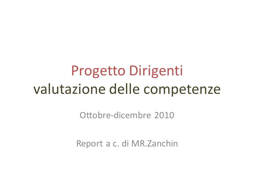 Progetto Dirigenti valutazione delle competenze Ottobre-dicembre 2010 Report a c. di MR.Zanchin