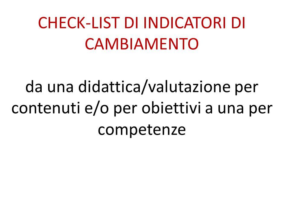CHECK-LIST DI INDICATORI DI CAMBIAMENTO da una didattica/valutazione per contenuti e/o per obiettivi a una per competenze