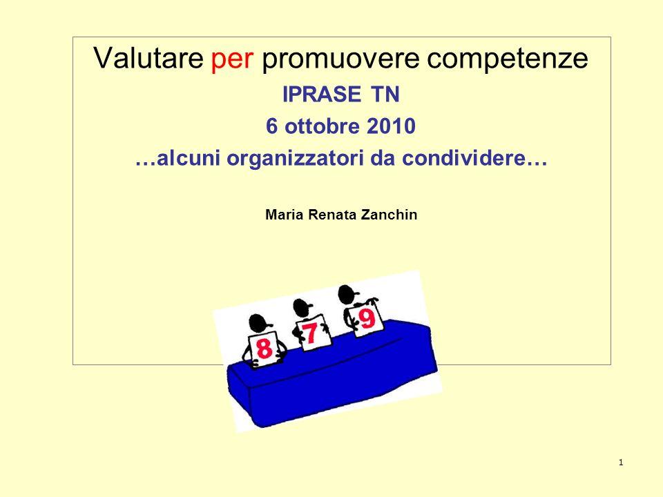 1 Valutare per promuovere competenze IPRASE TN 6 ottobre 2010 …alcuni organizzatori da condividere… Maria Renata Zanchin