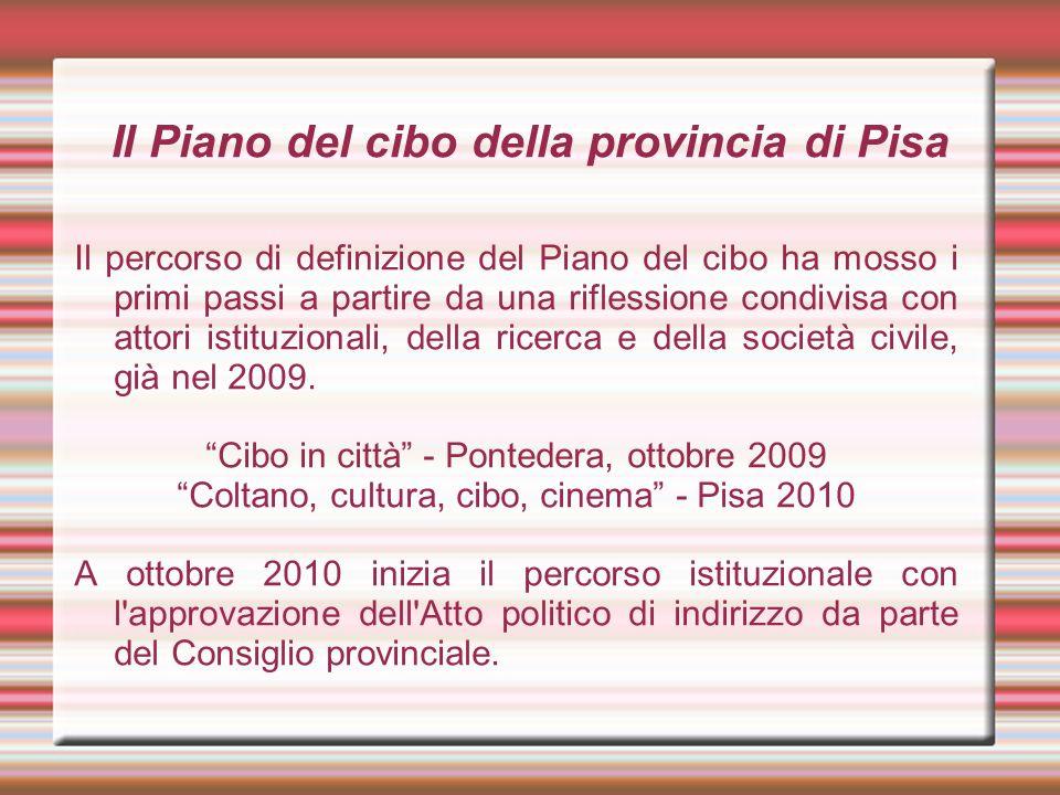 Il Piano del cibo della provincia di Pisa Il percorso di definizione del Piano del cibo ha mosso i primi passi a partire da una riflessione condivisa