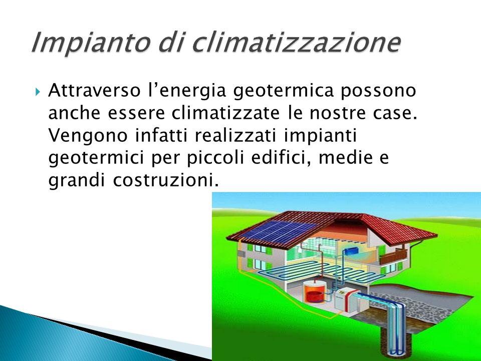 Attraverso lenergia geotermica possono anche essere climatizzate le nostre case. Vengono infatti realizzati impianti geotermici per piccoli edifici, m