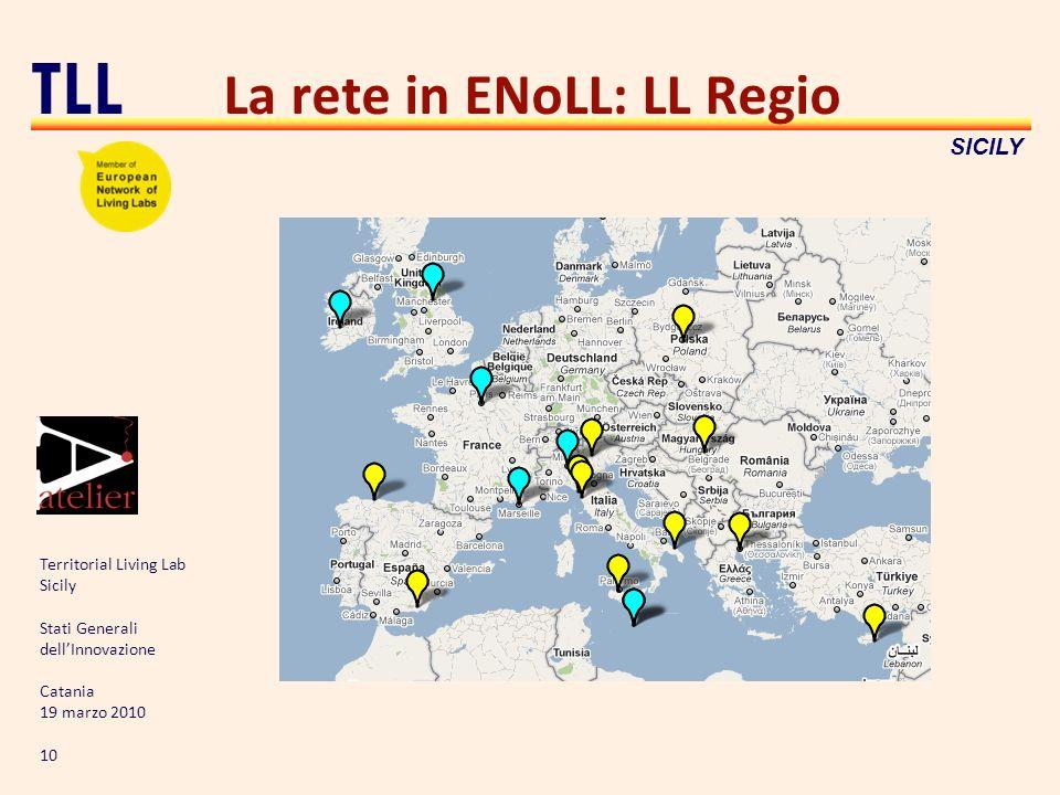 Territorial Living Lab Sicily Stati Generali dellInnovazione Catania 19 marzo 2010 10 TLL SICILY La rete in ENoLL: LL Regio