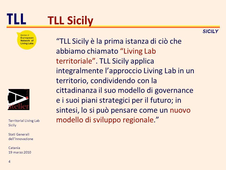 Territorial Living Lab Sicily Stati Generali dellInnovazione Catania 19 marzo 2010 4 TLL SICILY TLL Sicily TLL Sicily è la prima istanza di ciò che ab