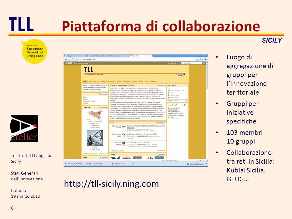 Territorial Living Lab Sicily Stati Generali dellInnovazione Catania 19 marzo 2010 6 TLL SICILY Piattaforma di collaborazione http://tll-sicily.ning.c