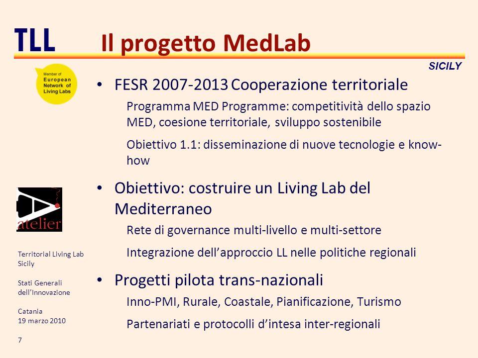 Territorial Living Lab Sicily Stati Generali dellInnovazione Catania 19 marzo 2010 7 TLL SICILY Il progetto MedLab FESR 2007-2013 Cooperazione territo