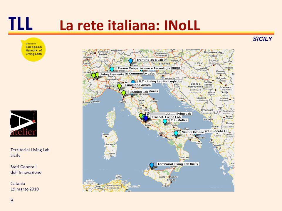 Territorial Living Lab Sicily Stati Generali dellInnovazione Catania 19 marzo 2010 9 TLL SICILY La rete italiana: INoLL