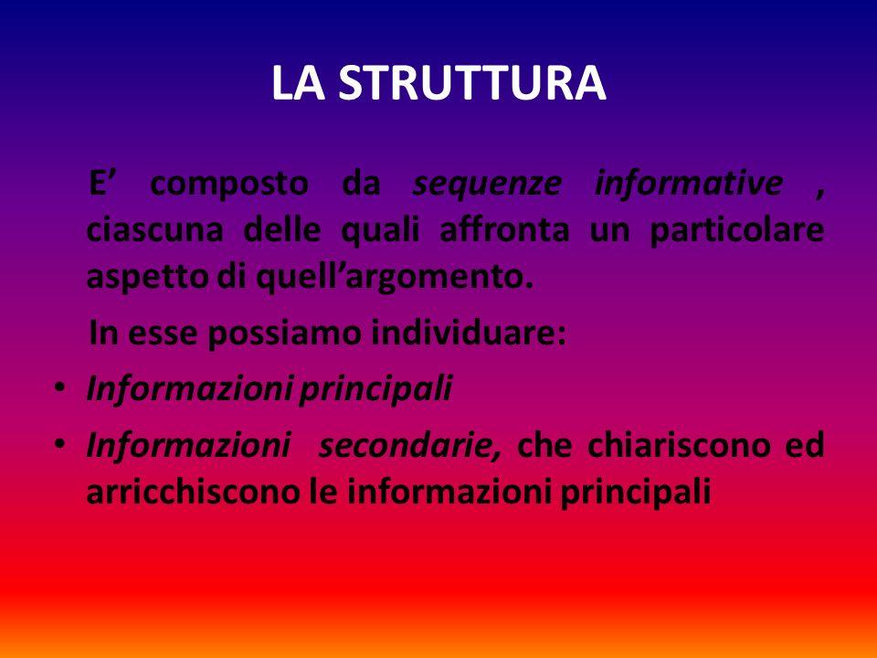 LA STRUTTURA E composto da sequenze informative, ciascuna delle quali affronta un particolare aspetto di quellargomento. In esse possiamo individuare: