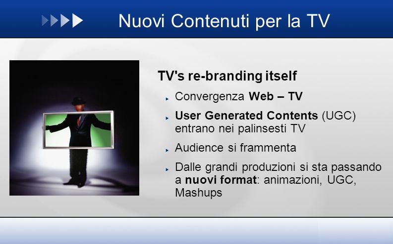 Nuovi Contenuti per la TV TV s re-branding itself Convergenza Web – TV User Generated Contents (UGC) entrano nei palinsesti TV Audience si frammenta Dalle grandi produzioni si sta passando a nuovi format: animazioni, UGC, Mashups