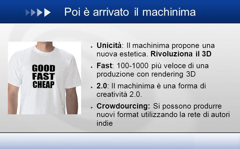 Poi è arrivato il machinima Unicità: Il machinima propone una nuova estetica.