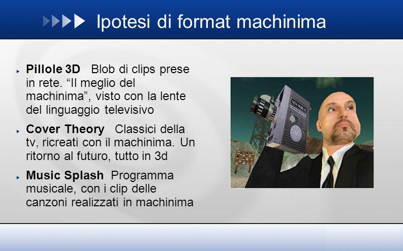 Ipotesi di format machinima Pillole 3D Blob di clips prese in rete.