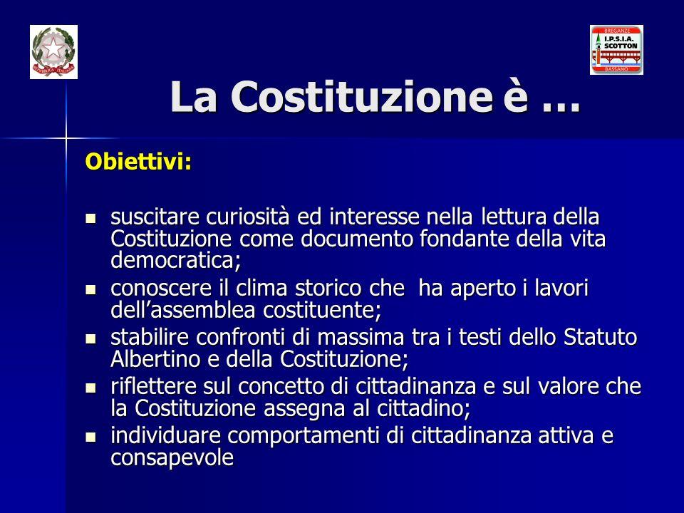 La Costituzione è … Obiettivi: suscitare curiosità ed interesse nella lettura della Costituzione come documento fondante della vita democratica; susci